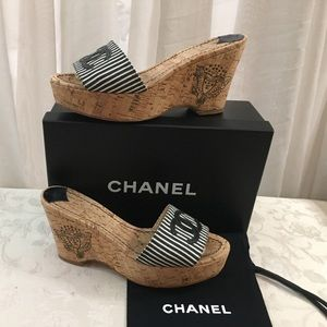 🆕 Chanel CC stripped Cord Wedges